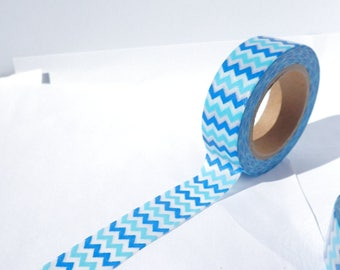 Blue Chevron Washi Tape - Paper Tape Great for Scrapbooking Paper Crafts and Decorations - Light and Dark Blue Pattern 15mm x 10m