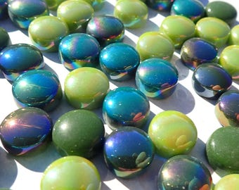 Rainforest Green Mix Glass Drops Mosaic Tiles - 100 grams Vase Fillers - Flat Marbles Mix of Gloss and Iridescent Glass Gems