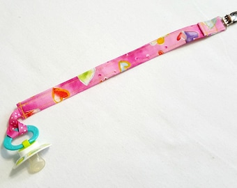Pacifier Holder Clip Girl - Pink Hearts Paci Clip Binky Clip
