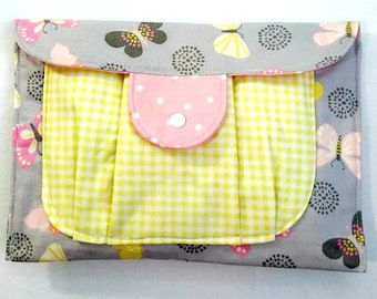 Girl Diaper Clutch Diaper Holder for Diaper and Wipes - Butterflies