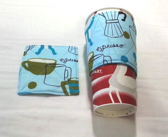 Resuable Coffee Cup Sleeve Cozy Amp Coaster Set Reversible
