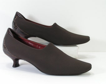 donald pliner pumps shoes womens 7 N brown narrow linen and leather heels leather