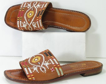 sandals womens 7.5 honey brown southwester style shoes leather woven native american indian