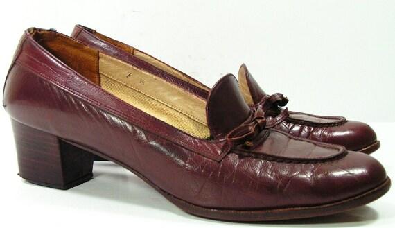 975104394bb vintage 1970 s pumps womens 7 M B shoes brown heels disco