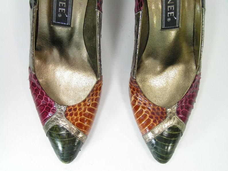 0add7066fc8 J. renee snake skin stiletto heels shoes womens 7.5 b m green