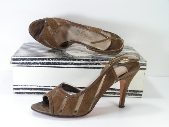 3ff05893eaa amano stiletto peeptoe pumps womens 7.5 m b brown slingback