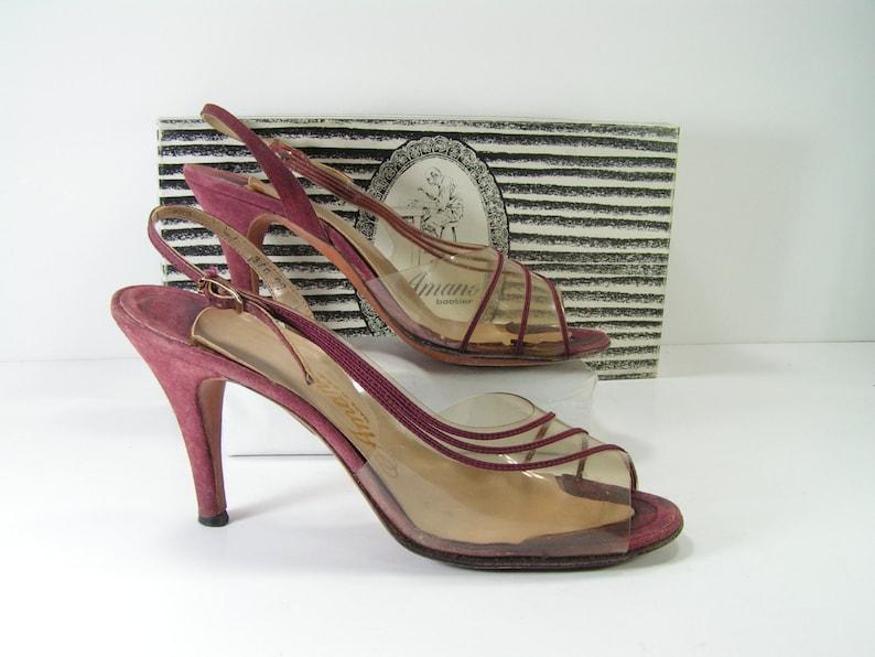 15d02e9e152 Slingback stiletto peeptoe pumps womens 7.5 N burgundy amano