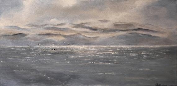 Dai dipinti di paesaggi marini di mare terra mare e cielo costiera gabbiani  24x12in. Dipinti di spiaggia dipinti onda acqua dipinti