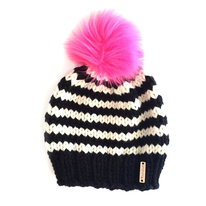 b533d2e50 Hot Pink Pom Pom Beanie, Baby girl Hat, baby beanie, Faux Fur Pompom hat,  hand knit hat, Womens Hot Pink Knitted Hat, Ready to Ship