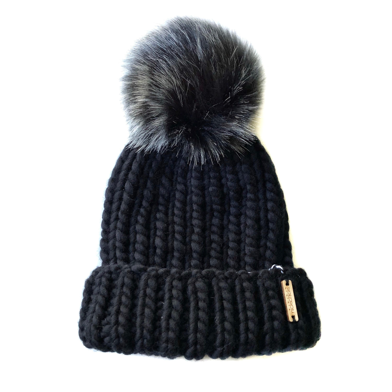 61f8cb92141 Merino Wool Hand Knit Fold Brim Faux Fur Beanie Hat Black