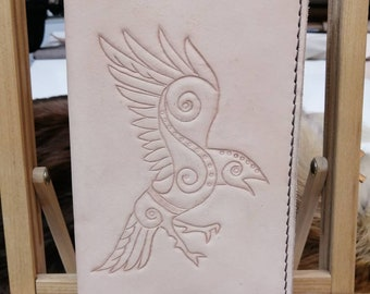 Celtic Raven genuine leather journal.  You pick the colour!