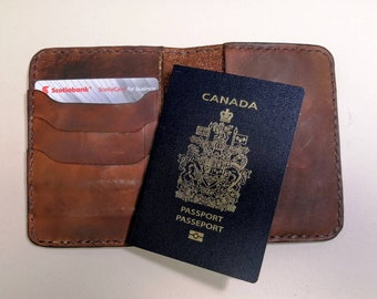 Leather Passport cover with hand tooled running Horses