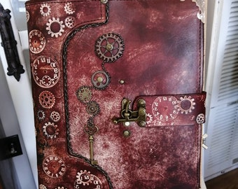 Steampunk genuine leather sketchbook and journal