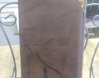 Leather, Brown Leather Journal with Brass Corners, genuine leather