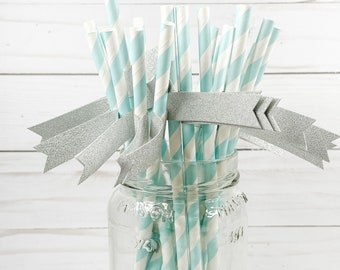 Pool Blue & White Paper Straws with Silver Glitter Flags - 25 count - Frozen