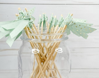 Pale Mint Green with Gold Foil Polka Dot Ribbon Cocktail Stirrers - 24 count - 6 inch skewers