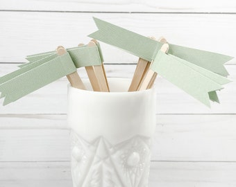 Safe Green Linen Paper Flagged Coffee Sticks or Drink Stirrers - 25 count