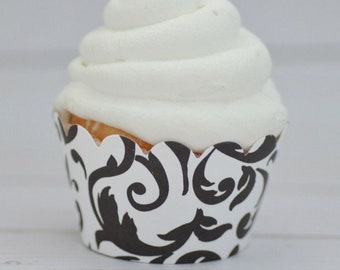 Black & White Damask Cupcake Wrappers - Standard Cupcake Wraps Set of 12