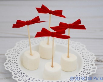 25 Red Crimson Satin and Glitter Bow Cupcake Toppers, Finger food picks, drink stirrers - Weddings & Birthday Party