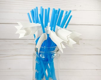 White Flagged on Blue Party Straws - 25 count