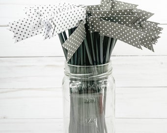 Black and White Polka Dot Cocktail Stirrers - 30 count