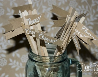 25 Kraft Paper Rustic Drink Stir Sticks with Calligraphy