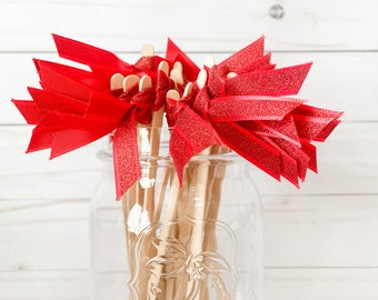 Red Glitter Ribbon Stirrers - Holiday Party - Cocktail Stirrers - 20 ct