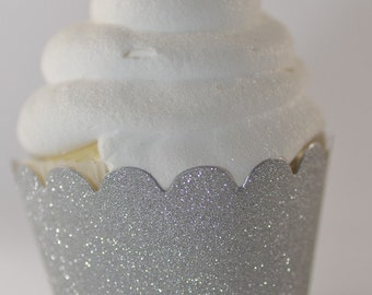 Silver Glitter Cupcake Wrappers - Standard or Mini Cupcake Wraps Set of 24