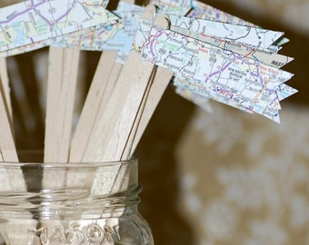 25 Map Travel Themed Drink Stirrers or Stir Sticks - Atlas