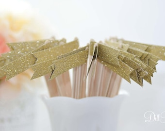 25 Gold Glitter Paper Flag Stir Sticks or Drink Stirrers