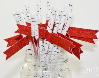 Birch Print Paper Straws with Red Glitter Flags - 24 count - Rustic Christmas