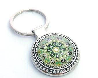 Mandala Leather Key Chain Leather Hand Painted Mandala Keychain Leather Key Fob Cute Accessory Keychain Leather Gift Keychain for Women