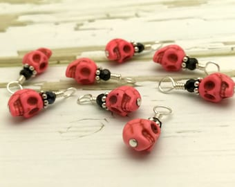 Pink Skull Stitch Markers for Sock and Shawl Knitters - Snag Free - Small Knitting Needle Markers - Gift for Knitters - Progress Keepers