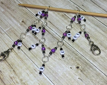 Row Counting Chain, Number Stitch Markers, Beaded Knitting Row Counter, Gift for Knitters