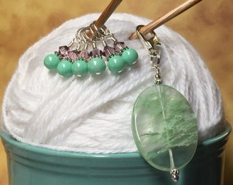 Mint Green Snag Free Stitch Markers & Beaded Holder- Knitting Gift