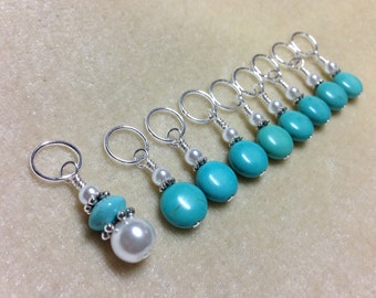 Blue Knitting Stitch Marker Set, Snag Free, Gifts for Knitters