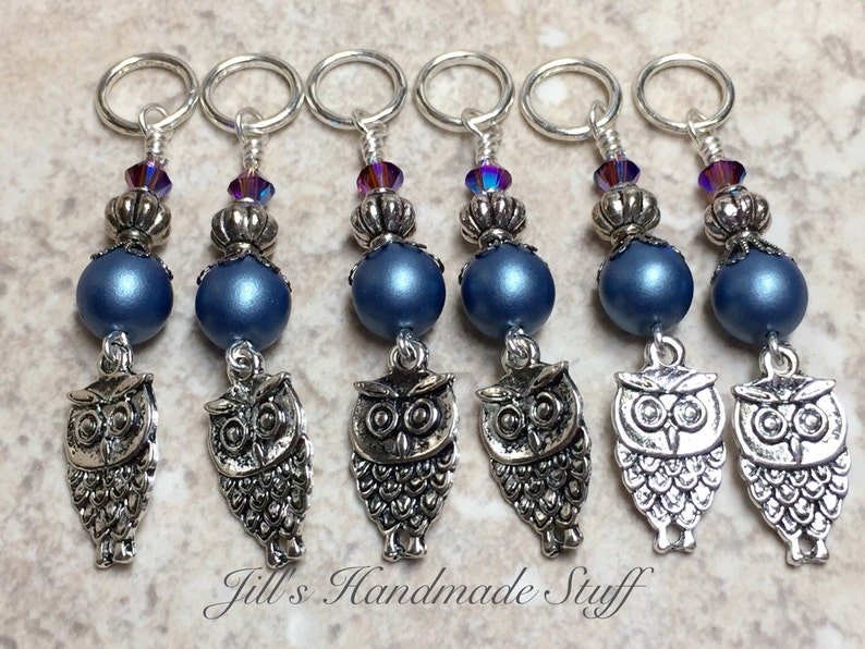 Owl Stitch Markers for Knitting Bird Knitting Marker Gifts for Knitter Crochet Option Available Progress Keepers Snag Free Rings