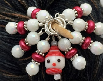 Snowman Stitch Marker Set, Snag Free Red And White Knitting Markers, Winter Gifts for Knitters