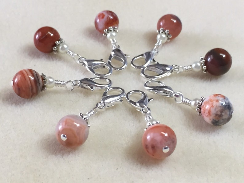 Red Agate Removable Crochet Stitch Markers Progress Keepers for Knitting /& Crochet