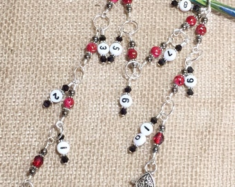 Number Row Counter 1-10 Stitch Markers - Beaded Counting Chain Style Knitting Counter - Gift for Knitters