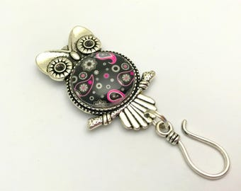 Paisley Owl Magnetic Portuguese Knitting Pin | Magnetic ID Badge Holder | Gift for Knitters | Coworker Gift