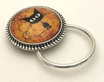 Cartoon Cat Magnetic ID Badge Holder Brooch | Eyeglass Holder | Name Tag Holder