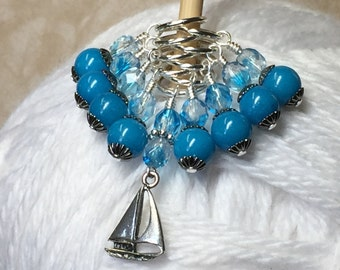 Sailboat Beaded Stitch Marker Set, Snag Free Progress Marker, Gift for Knitters, Boat