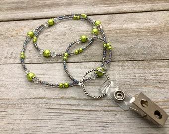 Green  ID Badge Lanyard Holder - Name Tag Necklace - Beaded Eyeglass Lanyard - Work Badge Necklace - Necklace for Glasses