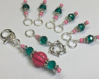 Dolphin Stitch Marker Set & Holder, Snag Free Progress Keepers, Gift for Her
