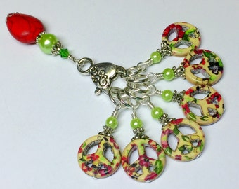 Floral Peace Sign Stitch Markers & Holder, Gift for Knitters, Flower