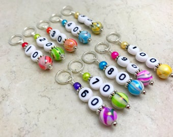 Number Stitch Markers, 10-100 Row Counter Markers, Gifts for Knitters, Numbered Counting Marker, Snag Free Beaded Stitch Marker