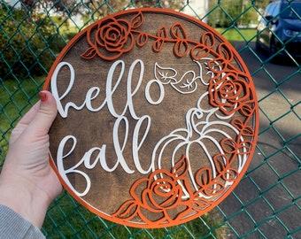 Hello Fall Layered Sign, fall rustic sign, wood sign, autumn, autumn decor, farmhouse sign, unique