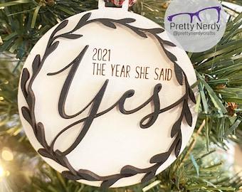 Custom The year she said yes Ornament - Christmas tree decor, Christmas ornament