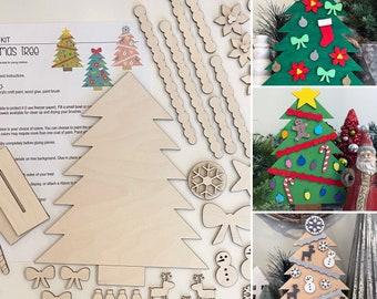 Christmas Tree DIY Kit - wood, custom, kids craft, paint night, Christmas Craft, Paint Party, Decoration